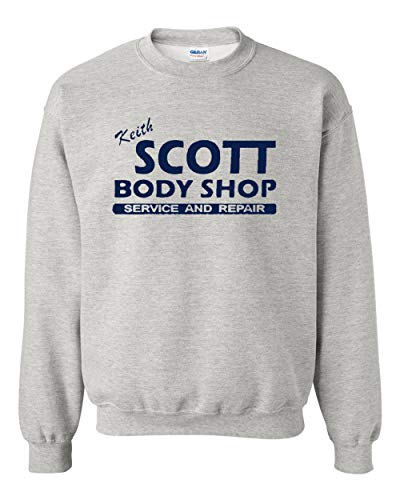 (Keith Scott One Tree Hill Body Shop North Carolina TV DT Crewneck Sweatshirt (Large, Ash Gray w/Navy Blue))