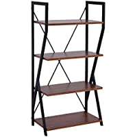 Tangkula 4 Tier Bookshelf Bookcase Storage Rack Display Shelves Home Office
