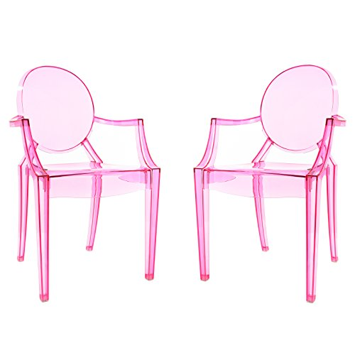 Poly and Bark Burton Arm Plastic Dining and Patio Ghost Chair, Stackable, Fully Assembled,  Suitable for Indoor & Outdoor, Pink (Set of 2)