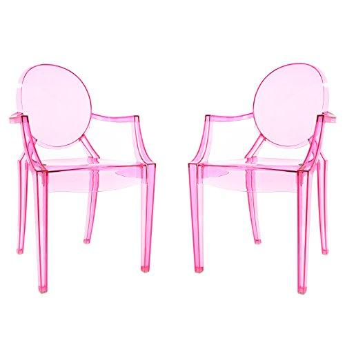 POLY & BARK EM-103-PNK-X2 Burton Arm Chair, Set of 2, Pink