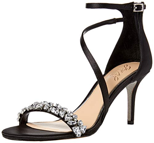Badgley Mischka Jewel Women's Danna Heeled Sandal, Black Satin, 7 M US