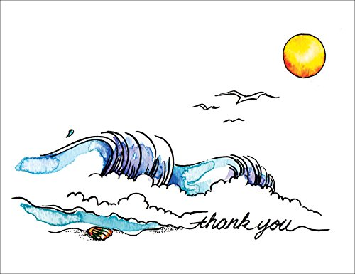 Catching the Wave Premium Thank You Cards - Note Cards Set of 12 Cards and Envelopes -
