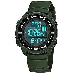 YINGEN Electronic Sports Watch, Double Time, Luminous, Waterproof, Multi-Function Alarm Clock Youth etc,Green