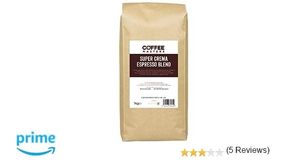 Coffee Masters Granos de Café Super Cremoso Espresso 1kg: Amazon ...
