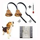EYLEER Premium Metal Dog Doorbell Pet Dog Cat Door Bells for Potty Training Housebreaking House Training to Prevent Door Scratch with Free Dog Training Clicker (2 Doorbells + 1 Clicker)