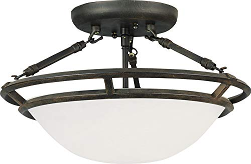 Marble Semi Flush - Maxim 2670MRBZ Stratus 3-Light Semi-Flush Mount, Bronze Finish, Marble Glass, MB Incandescent Incandescent Bulb , 60W Max., Dry Safety Rating, Standard Dimmable, Metal Shade Material, Rated Lumens