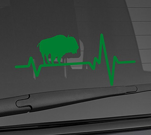 Heart Beat Line Heartbeat ANIMAL BISON BUFFALO Indian American Native Love Car Vinyl Sticker Wall Decal 3.75