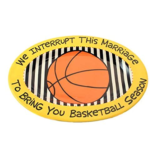 Basketball Serving Tray Platter Is a Great Way to Serve Wings or Nachos Oval Platter Created in Quality Stoneware. Bright Harvest Gold and Referee Strips in the Center Along with -