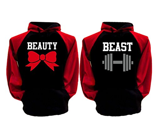 - AMS Couple Matching Beast and Beauty Two-Tone Raglan Hoodie Pullover Hooded Sweatshirt Woman-Small/Man-Small-Black Chest/Red Arm