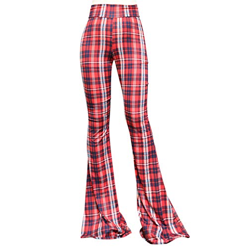SMT Women's High Waist Wide Leg Long Bell Bottom Yoga Pants Medium Plaid Red ()