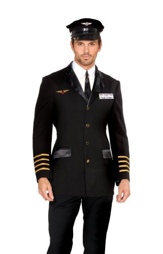 Dream Girl Couples Costumes (Dreamgirl Men's Mile High Pilot Hugh Jordan Costume, Black, X-Large)