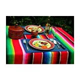Large Authentic Mexican Saltillo Sarape Blanket with Assorted Bright Colors