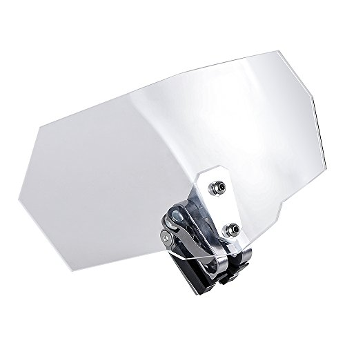 Motorcycle Adjustable Clip On Extension Windshield Spoiler Wind Deflector Kit (Clear Lens - Silver Clip)