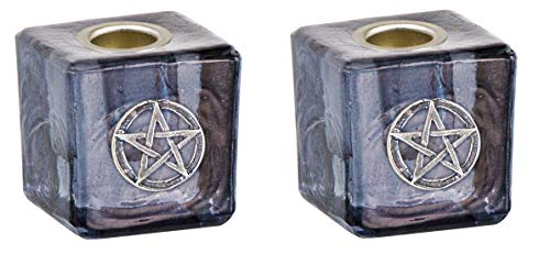 Clarity & Muse Chime Candle Holder Mini Candle Holder Pentacle (Black, Set of 2) - Wiccan Altar Supplies