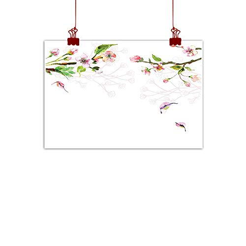Sunset glow Artwork Office Home Decoration Watercolor,Apple Tree Blooming in Spring Season Branches Falling Leaves Romantic,Light Pink Green 36