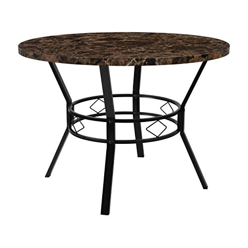 Flash Furniture HS-D03003TR-M004-42-GG Espresso Marble-Like Dinette Tables, 42 in. in,