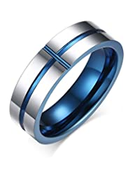 6mm Tungsten Carbide High Polished Two-tone Blue Sideway Cross Wedding Bands Ring for Men