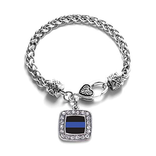 Inspired Silver - Blue Line Law Enforcement Support Braided Bracelet for Women - Silver Square Charm Bracelet with Cubic Zirconia ()
