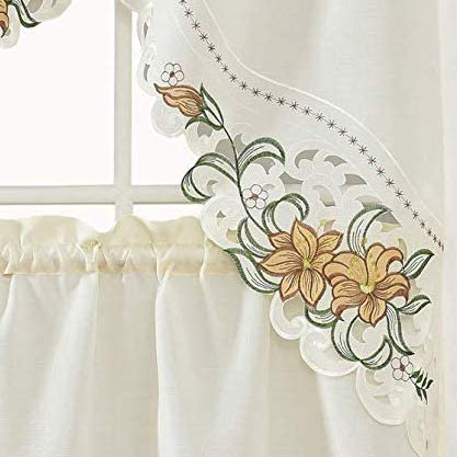 GOHD Golden Ocean Home Decor Lily Fragrance. 3pcs Multi-Color Embroidery Kitchen Curtain/Cafe Curtain/Swag & Tiers Set with cutworks. (Gold)