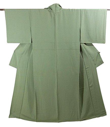 リサイクル 着物 色無地 ひとえ 紋なし 正絹 淡い草色 裄62cm 身丈150cm