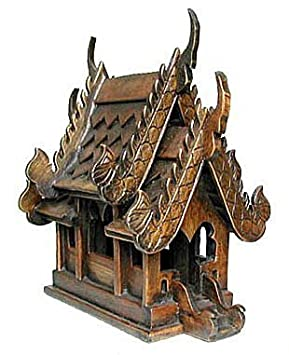 Thai Buddhist Wood Carving for Spiritual Haunted Spirit House Temple