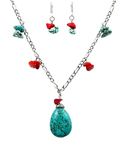 (Chinese Turquoise and Coral Bead Necklace and Earrings Set (N6))