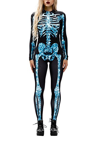 (Selowin Women Adult Halloween Skeleton Skull Bone Print Romper Jumpsuit Outfits Clothes Blue)