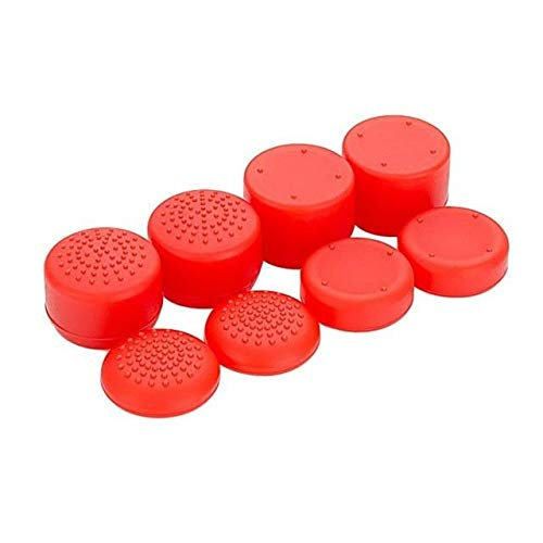 (2PCs Anti-Slip Silicone Case Skin Playstation 4 PS4 Pro Slim Controller Cover with Thumb Stick Grips Caps Dualshock 8 8 Red Caps PS4 Controller Covers - Silicone Skin, Silicone Cover)