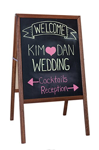 Folding Two-sided Marquee Stained Wood Easel - Whiteboard & Black Chalkboard (H42 x W24ins)