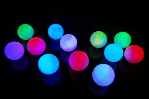 Set of 12 Litecubes RAINBOW Light up LED Golf Balls (Drink Novelty) ()