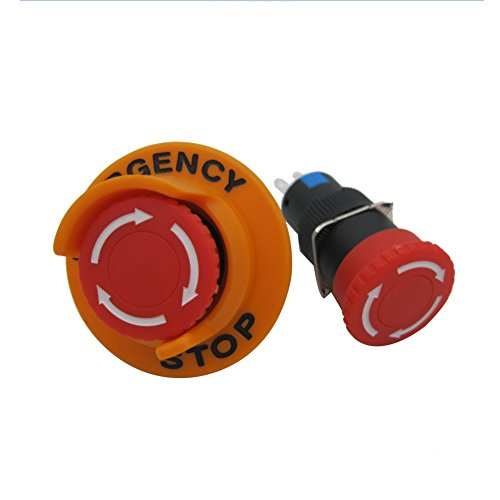 TWTADE / AC110V-250V DC12V-250V 0.1-5A SPDT 1NO 1NC 3Pin 16mm Self-Locking Mushroom Emergency Stop Push Button Pushbutton Switch Add Protection Cover (Quality Assurance for 3 Years)