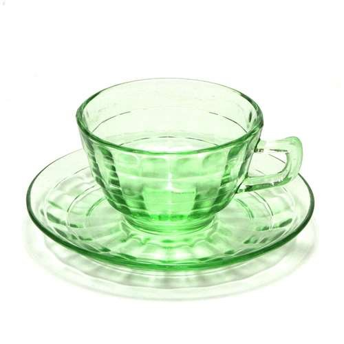 Block Optic Green by Anchor Hocking, Glass Cup & Saucer (Hocking Glass Block Optic)