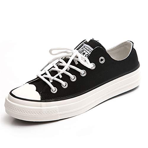 Estudiante con de Negro Zapatos Negros de la de Universidad Zapatos los Zapatos Lona Viento Mujeres Zapatos de SHI de Las Planos Ocasionales Cordones Bajos Deportes 5tqOwxx4
