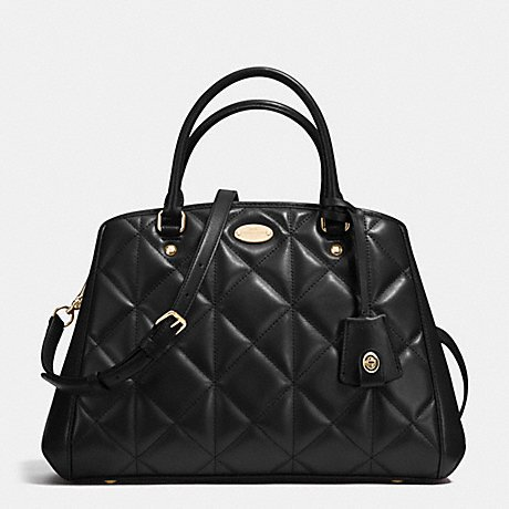 Coach Classic Black Quilted Leather Small Carryall Margot...