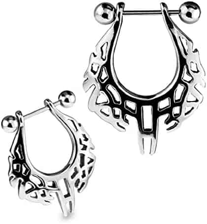 BodySparkle Body Jewelry Double Jeweled Industrial Barbell Piercing Earring 16g 1 /& 1//4 inch-32mm Black 3mm End Balls
