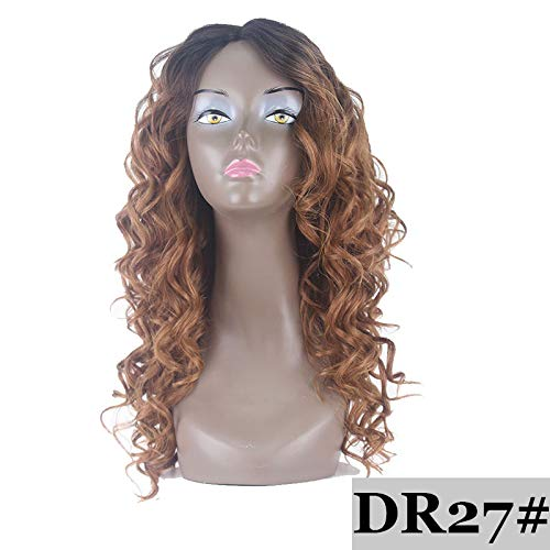 Red Color Synthetic Hair Wigs For Black Women Side Part Dark Roots Wigs Glueless Heat Resistant Loose Wave Wigs #27A 180% -
