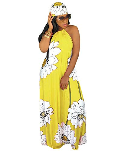 Women Sexy Floral Maxi Dresses- Plus Size Summer Halter Backless Long Beach Dress with Scarf Yellow 2XL