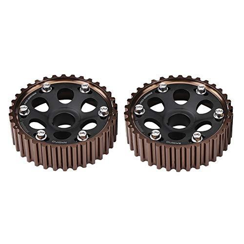 Camshaft Adjustable - Jinxuny Camshaft Gears 1 Pair Aluminum Racing Adjustable Camshaft Gear Set for Car Integra Civic B16A/B16B/B18C Engine Black (Color : Black)