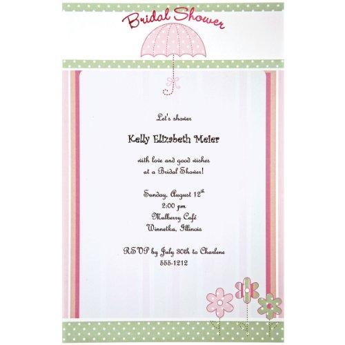 Bridal Shower Invitations Umbrella (Wilton 12-Pack Umbrella Invitation, Pink)