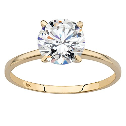 Round White Cubic Zirconia 10k Yellow Gold Solitaire Engagement (10 Carat Round Solitaire)