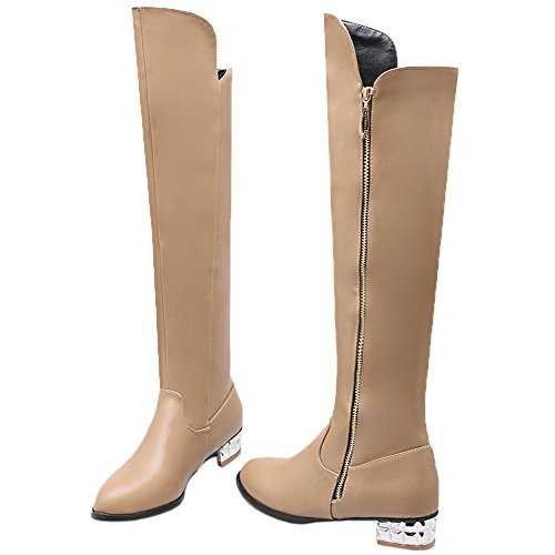 Over Boots the High Heel Winter HooH Simple Boots Riding Beige Knee Women Knee Silver HdTqH