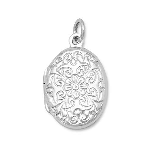- Oval Polished Floral Design Locket Womens Ankle Bracelet Anklet Fashion Jewelry Sterling Silver