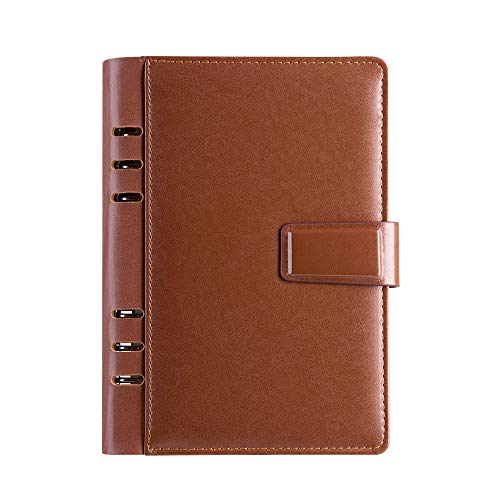 (Leather Cover Binder Journal 6 Hole Refillable Notebook Paper Organizer Lined+Dotted+Blank Diary,Pen Holder,Cards Pocket,Brown)