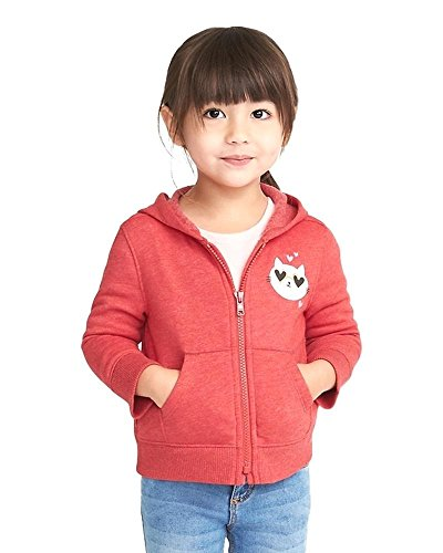 Old Navy Super Spring Sale Graphic Fleece Zip Hoodie for Toddler Girls (Several Designs Available)! (Kitty in Red, 3T) Kitty Zip Hoodie