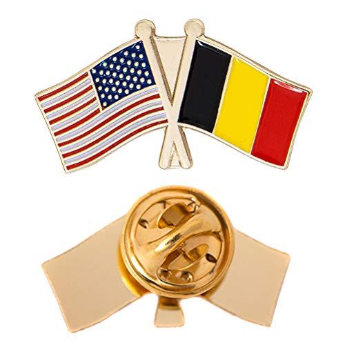 Belgium Country Double Flag Lapel Pin Enamel with United States USA US Souvenir Hat Men Women Patriotic (Double Flag Pin) (Double Flag Pin)