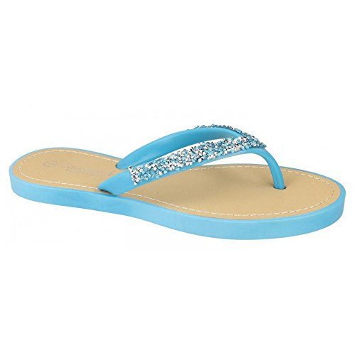 Ladies Savannah Toe Post Summer Sandals F0806 Light Blue