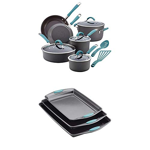 Rachael Ray Cucina Hard-Anodized Aluminum Nonstick Pots and Pans Cookware Set, 12-Piece, Gray, Agave with Rachael Ray…