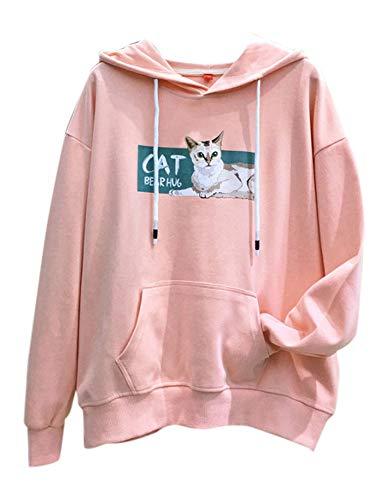 Cosplay Ladies Anime Bunny Emo Rabbit Hoodie Ears Costume Raccoon Teddy Panda Emo Bear T Shirt Top Shirt (Pink Hoodie)]()