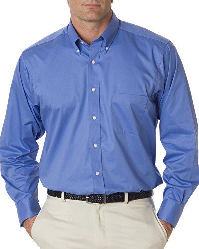 Van Heusen Mens Long Sleeve Button Down Baby Twill Dress Shirt - Colors (L, Cobalt) ()