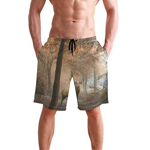 Mens Shorts Autumn Forest Deer Pajamas Short Hot Pants for Boys